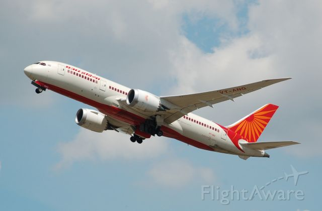 Boeing Dreamliner (Srs.8) (VT-ANG) - Air India B787-8 departs London Heathrow.