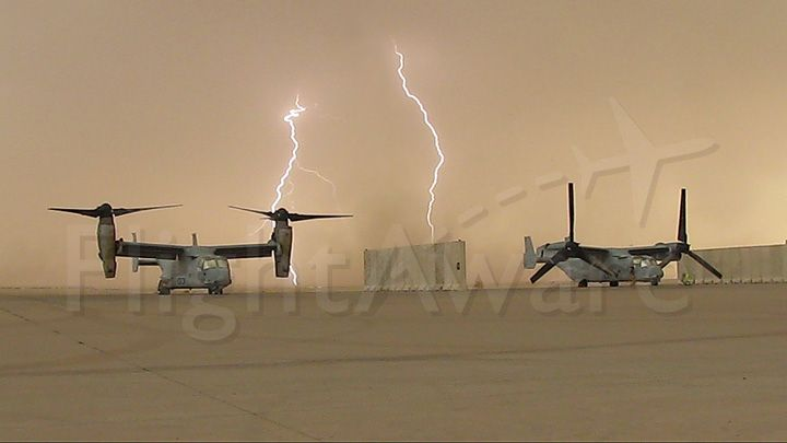 Bell V-22 Osprey — - On the ramp at Baghdad International during a sand storm.