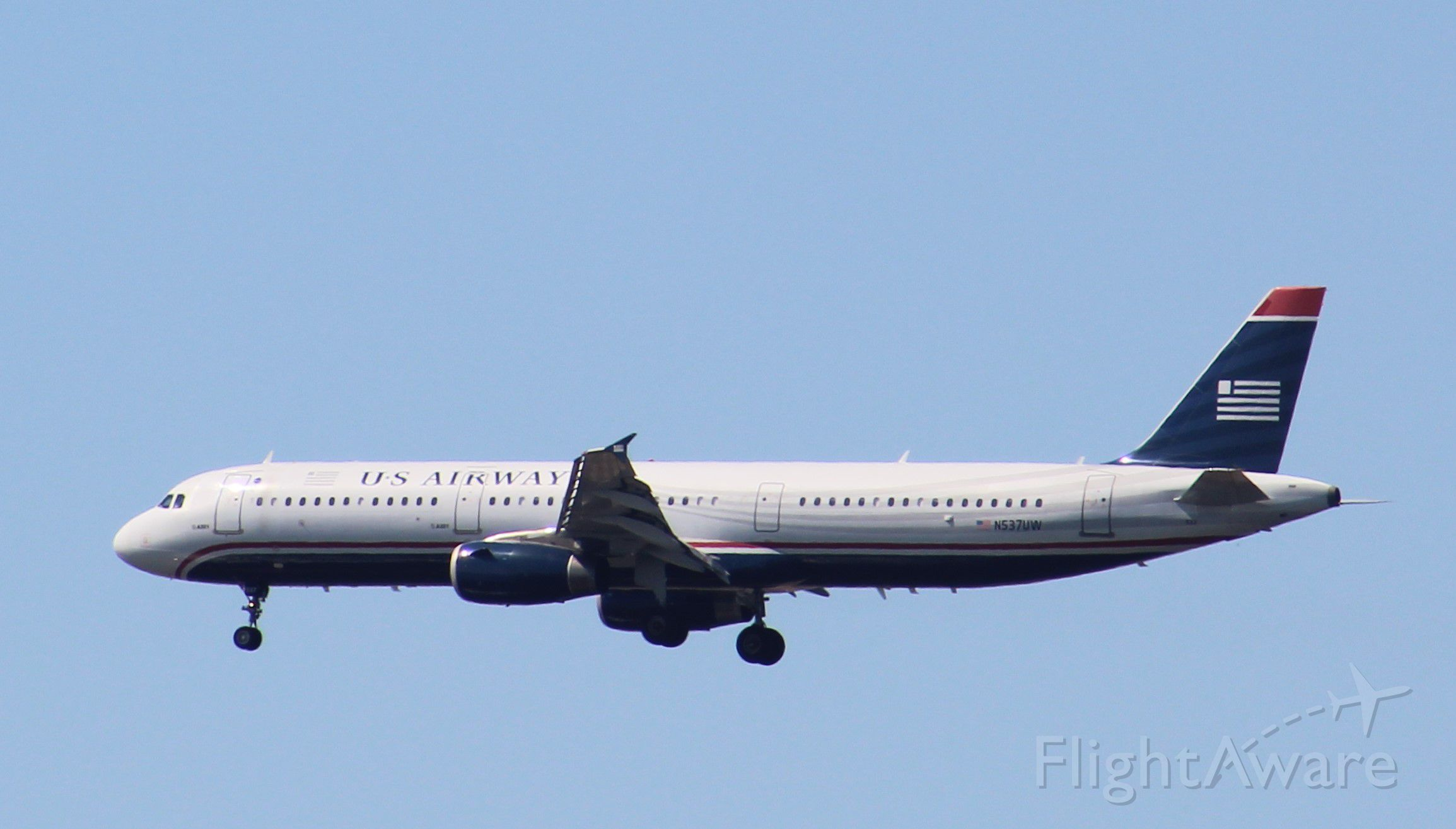 Airbus A321 (N537UW) - Rare in Philadelphia these days American A321 landing at PHL!