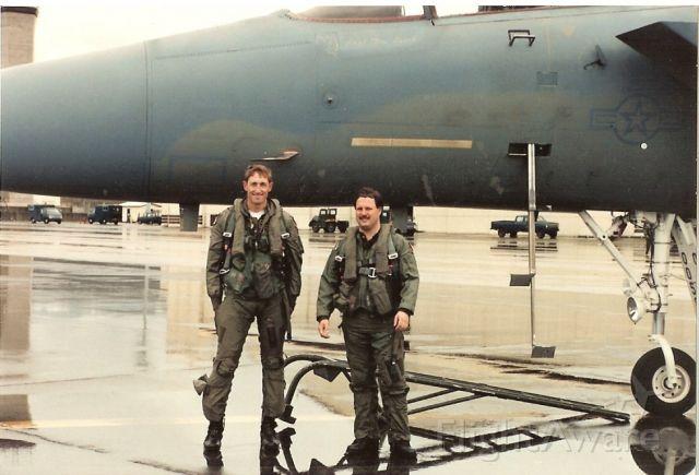 McDonnell Douglas F-15 Eagle (CUDA01) - F-15D Incentive Flight, July 11, 1991.  Capt Bill Bledsoe on left, FAA ATCS Curt Faulk on right.