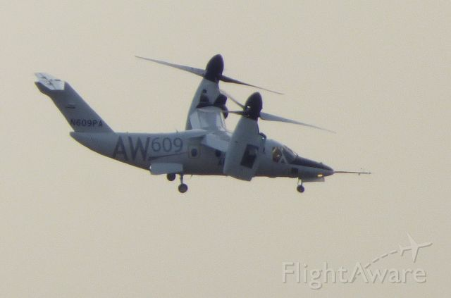 Bell BA-609 (N609PA) - Shown here is an AgustaWestland Twin Turbo-Prop AW609 making a low pass in the vicinity of the new Leonardo facility at the airport in the Winter of 2018.