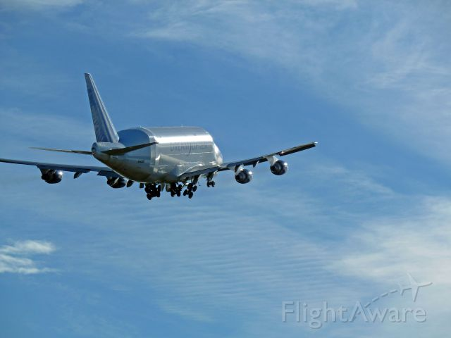 Boeing 747-400 (N2498A) - 2-2-2011 Dreamlifter 747-407 LCF, N2495A,taking off at Paine Field, Everett, Washington  |||  Photo by Bruce McKinnon