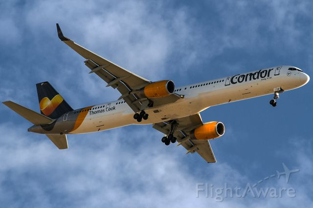BOEING 757-300 (D-ABOF) - friendly clouds and egyptian blue sky
