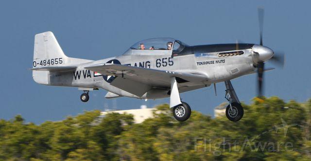 N551CF — - TF-51D near touchdown.