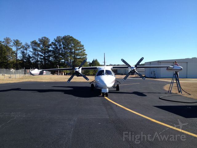 Mitsubishi MU-2 (N219MA) - Balancing act on the ramp in Alexander City, Al.