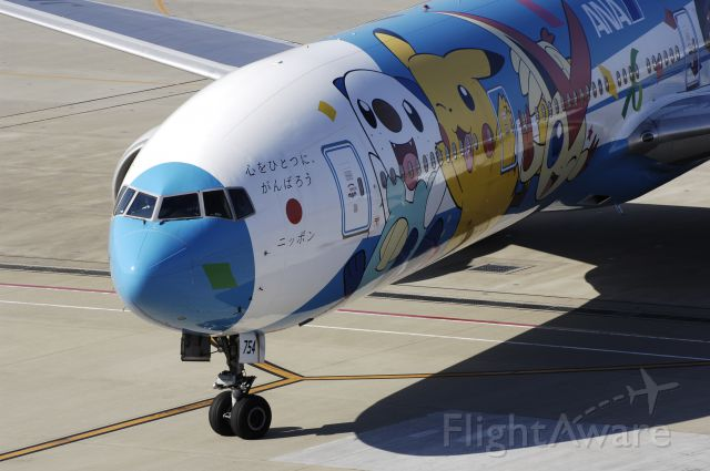 """BOEING 777-300 (JA754A) - Taxi to Spot at Haneda Intl Airport on 2012/07/10 """"Pokemon c/s"""""""
