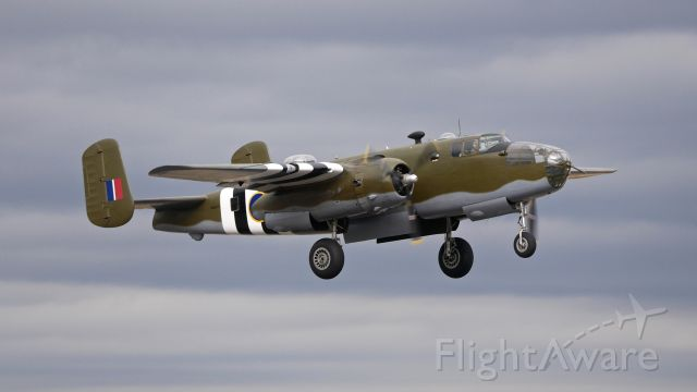 "North American TB-25 Mitchell (N88972) - Historic Flight Foundations North American B25-D Mitchell bomber ""Grumpy"" (Ser#43-3318) doing pattern work on Rwy 16R on 10.6.17."
