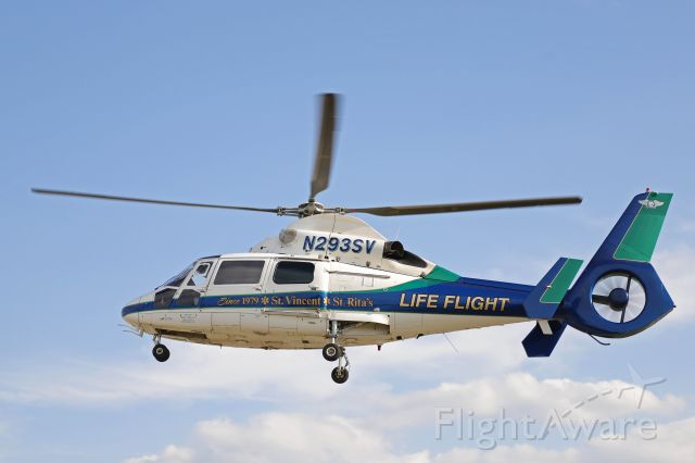 N293SV — - Lifeflight-2, a Eurocopter AS365 N2 Dauphin, operated by Mercy Health, departing the landing zone during the Toledo Express Airport triennial emergency exercise on 18 May 2021.