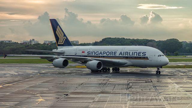 Airbus A380-800 (9V-SKI) - SQ863 from Hong Kong taxi to gate at Changi