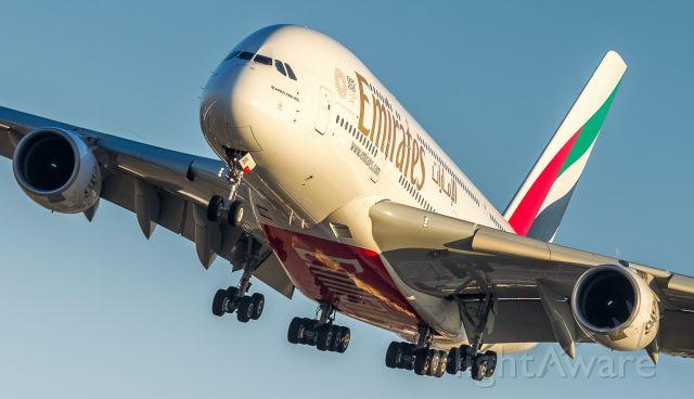 Airbus A380-800 (A6-EUL) - Short finals for runway 23, creative edit