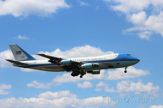 Boeing 747-200 (N28000) - Gorgeous Blue Sky & Plane.<br /><br />My favorite side profile photo of Air Force 1 from 6-25-20.