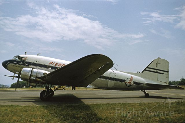 Douglas DC-3 (N56V) - N56V was manufactured in 1944 for the US Military as a C-53-DO with serial number 4900.  It was later sold to Western Airlines and registered as NC18600.  In January 1956 it was purchased by Piedmont Airlines and named the Potomac Pacemaker with the registration changed to N56V.  It was removed from service in February 1963 and sold to Charlotte Aircraft to be used for spare parts and soon became a derelict.  In 1978 it was purchased by the North Carolina Nature Museum in Durham, NC and with the assistance of Piedmont was partially restored and displayed outdoors at the museum on pylons.   In 2004 it was purchased by the North Carolina Transportation Museum in Spencer, NC where it is now being restored by volunteers. Plans are to have it completed and ready for static display on Piedmont's 70th anniversary in February 2018. Photo from the archives of the Piedmont Aviation Historical Society with permission of US Airways {American}.