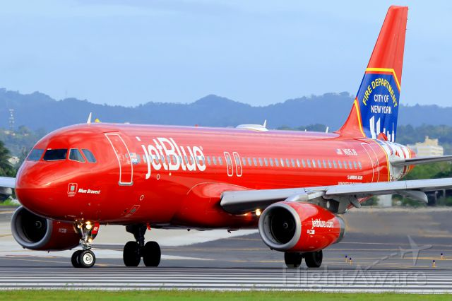 Airbus A320 (N615JB) - Blue Bravest ready for take off from SJU to EWR.