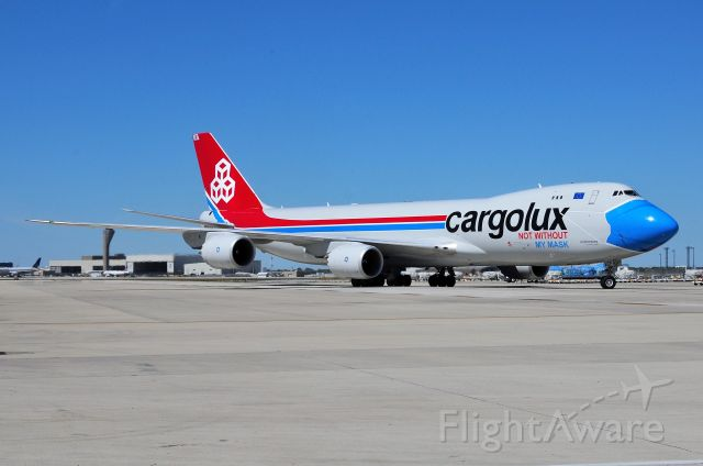 BOEING 747-8 (LX-VCF) - Pulling in to the gate at North Cargo on 09-04-20