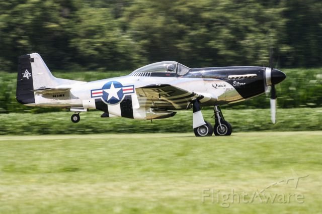 """North American P-51 Mustang (NL51HY) - P-51 """"Quick Silver"""" taking off at """"The Greatest Show on Turf"""""""