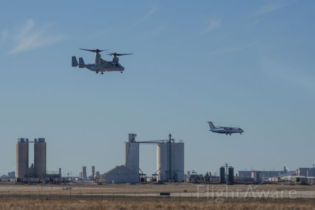 Bell V-22 Osprey (16-8242) - MV-22C 168242 during a test flight along side a Dornier 328-110 that was on approach into Rick Husband Int'l Airport in Amarillo, Texas.