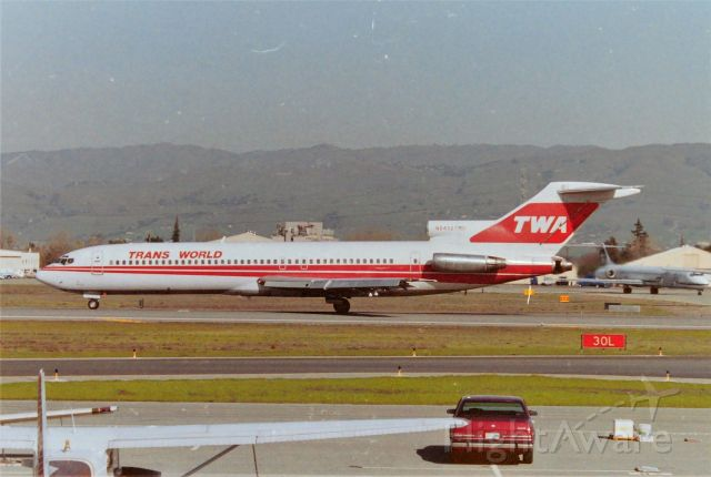 BOEING 727-200 (N54327) - KSJC - STL bound TWA 727 on 30 L powering up for departure - I can still kick myself for never getting video of this jet at SJC - the few of you who know me have seen my shaky videos that i took here at SJC for over 35years - I never got this on video.....argh!! During AM weather Ops, when Runway 12R was in use, the TWA 727s would be rotating wheels off about the same place in view. I have a picture on this site of a different TWA 727 departing for STL fully loaded and it was dicey to say the least. The poor people who lived in the area south of 30L did not get to sleep in quietly on those days....