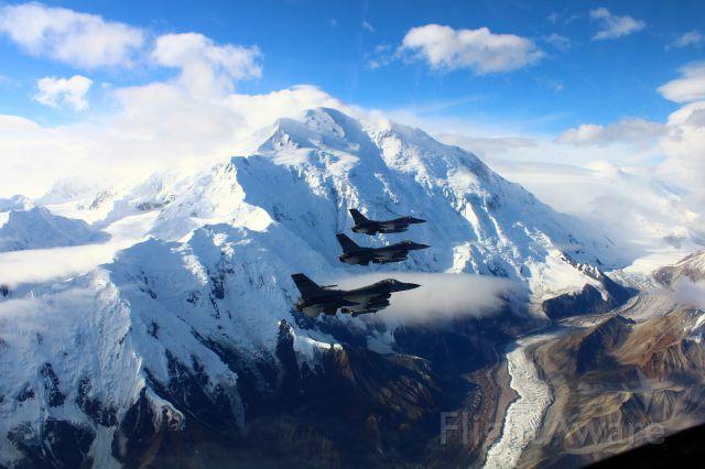 — — - F-16s over Denali