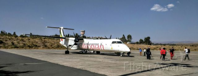 de Havilland Dash 8-400 (ET-AQC) - After arriving in Gondar from Addis Ababa.