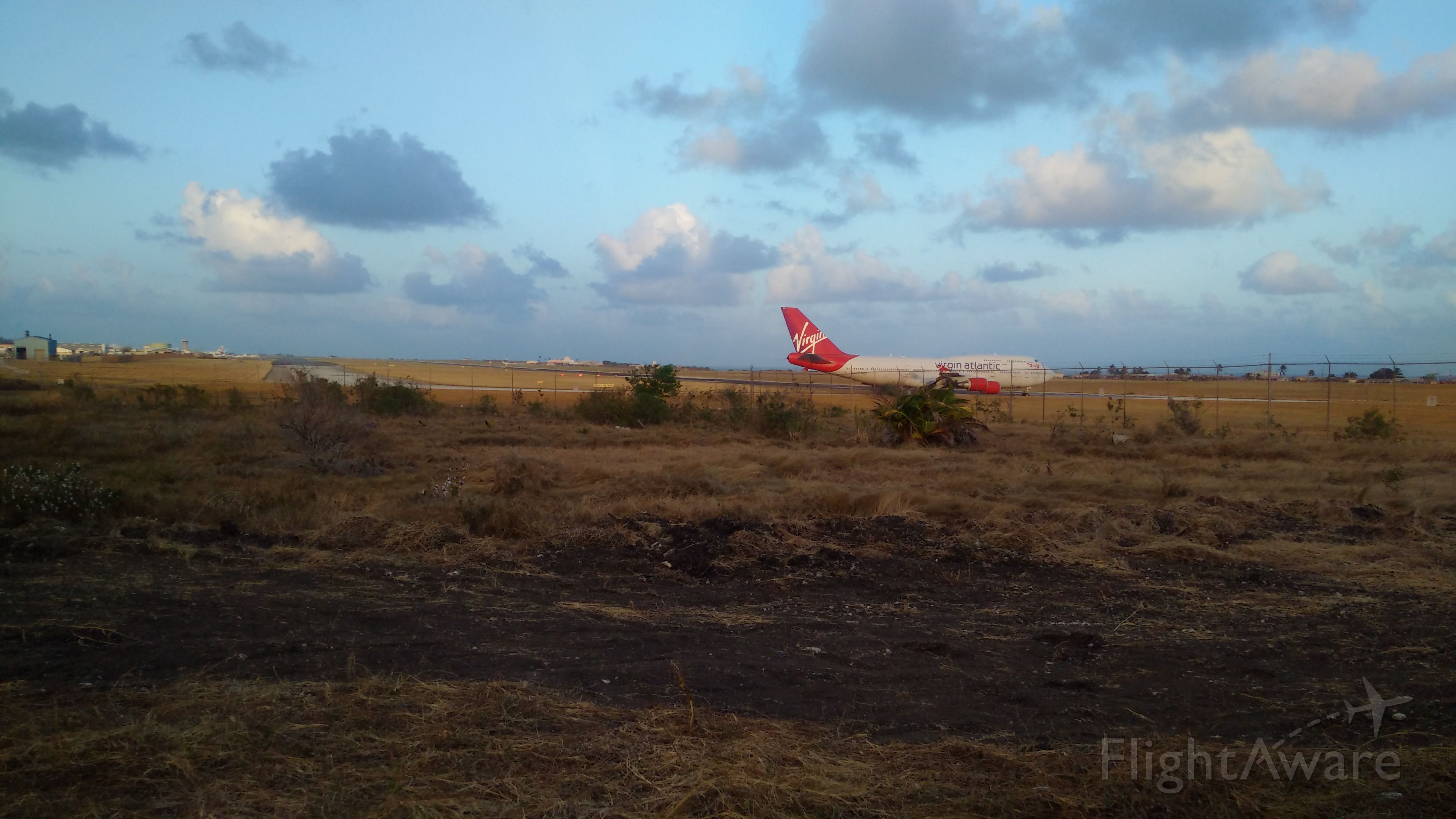 Boeing 747-400 (G-VROS) - Virgin Atlantic to LGW<br />At the end of Adams Taxiway