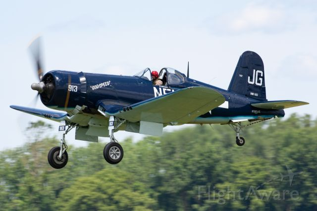 """NX83JC — - Ronald Lauder's Goodyear FG-1D Corsair """"Godspeed"""" piloted by Charlie Lynch at the 2019 Greatest Show on Turf in Geneseo, NY"""