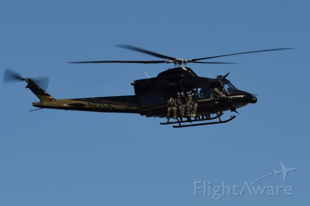 Bell 412 (N223JC) - Getting ready for the Super Bowl. Over Buffalo Bayou.