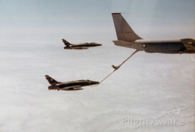 — — - Boeing KC-135 refueling F-100s from the 178th TFG. Early 70s