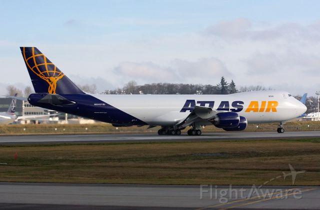 Boeing 747-200 (N854GT) - Atlas Air 747-8F N854GT first flight from Paine Field February 2, 2013.