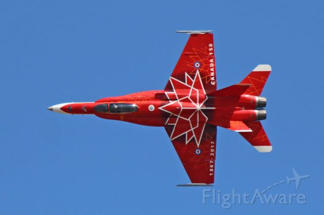 McDonnell Douglas FA-18 Hornet (18-8734) - A sharp looking Royal Canadian Air Force (RCAF) custom-painted red and white CF-18 (188734, c/n 249) from 4 Wing, CFB Cold Lake, during Friday afternoon rehearsal at AirShow London 2017, London International Airport, Ontario, CA (CYXU) on 22 Sept 2017.