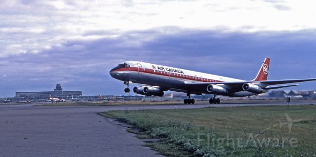 """McDonnell Douglas DC-8-60 (C-FTIQ) - August 1971 - """"Rotate"""" - departure on rwy 06L at Dorval."""