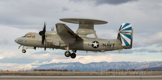 "Grumman E-2 Hawkeye (16-8598) - A VAW-121 (Carrier Airborne Early Warning Sqdn 121) ""Bluetails"" E2D Hawkeye (168598) is about to land on runway 31L at KNFL.<br />This is the first photo of 168598 to be posted into the FA gallery."