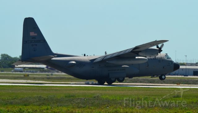 Lockheed C-130 Hercules (01791) - C-130 of the 139 Airlift Wing getting hit by a cross wing at touch down while landing in Sioux Falls SD