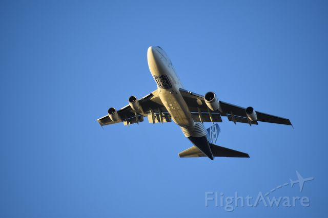 Boeing 747-200 (N787RR) - Taken from my office. Rolls Royce 747 Test Bed Low Pass