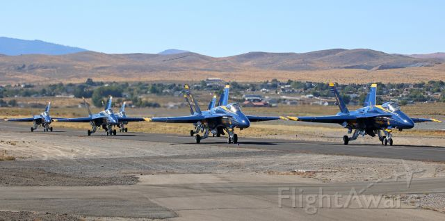 """— — - The six aircraft of the US Navys Blue Angels primary aerial demonstration team approach my position in the six-ship, two-two-two, wingtip-to-wingtip, group taxi formation as they arrive at Reno Stead Airport for the 2016 National Championship Air Races event.br /Suggestion ... For better Q, this photo is best viewed at its actual size (ie: """"FULL"""")."""