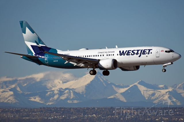 Boeing 737 MAX 8 (C-FNWD) - Westjet 737 MAX8 arriving at YYC on Oct 16.