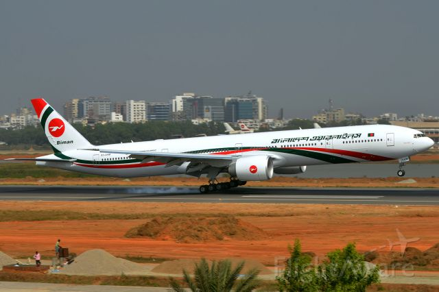 BOEING 777-300 (S2-AHM) - Delivery flight touches down on runway 14 in Dhaka