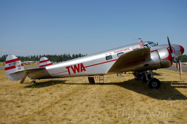 N18137 — - Restored Lockheed 12A,  in the colors of TWA. Aircraft seen on display at the 2009 EAA Fly-In at Arlington,WA.