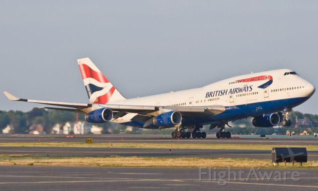 Boeing 747-400 (G-BNLF) - Lima Foxtrot heading to London Heathrow on FlightAware.Com @ KBOS Logan Airport !