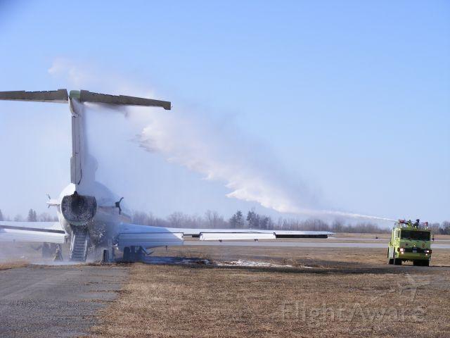 — — - Fire fighting vehicle praticing on 727, at Ottawa.
