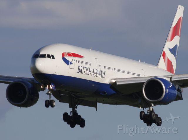 Boeing 777-200 (G-YMMI) - Speedbird 103 short final for Rwy34 in Calgary