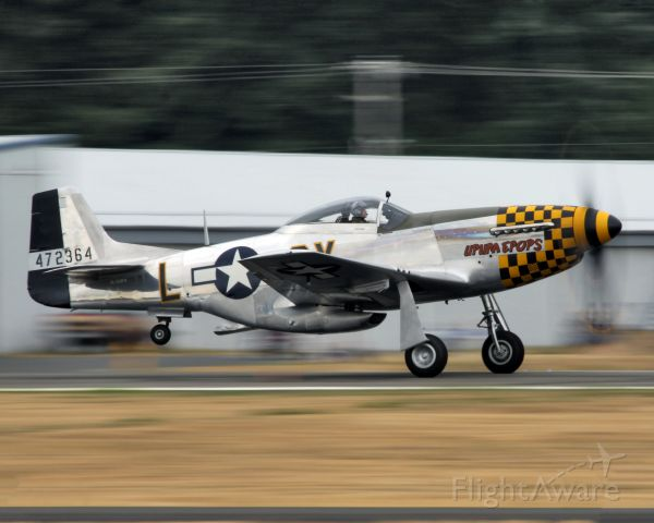 """N723FH — - Flying Heritage COllections P-51D """"Upupa Epops"""" taking off for the airshow at the 2015 Arlington Fly-In at AWO."""