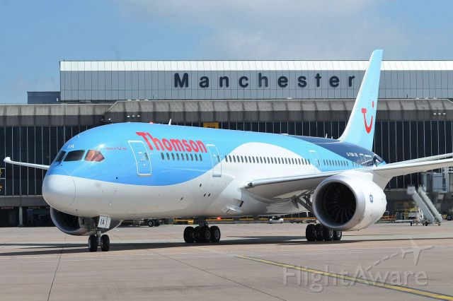 Boeing Dreamliner (Srs.8) (G-TUIA) - thomson airways boeing 787-400 taxiing for takeoff from Manchester intl. EGCC/MAN