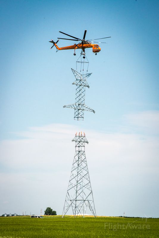 Cessna Cutlass RG (N237AC) - 1970 Erickson S64F C/N 64095 Power line construction in Southern Alberta Aug 9, 2014.