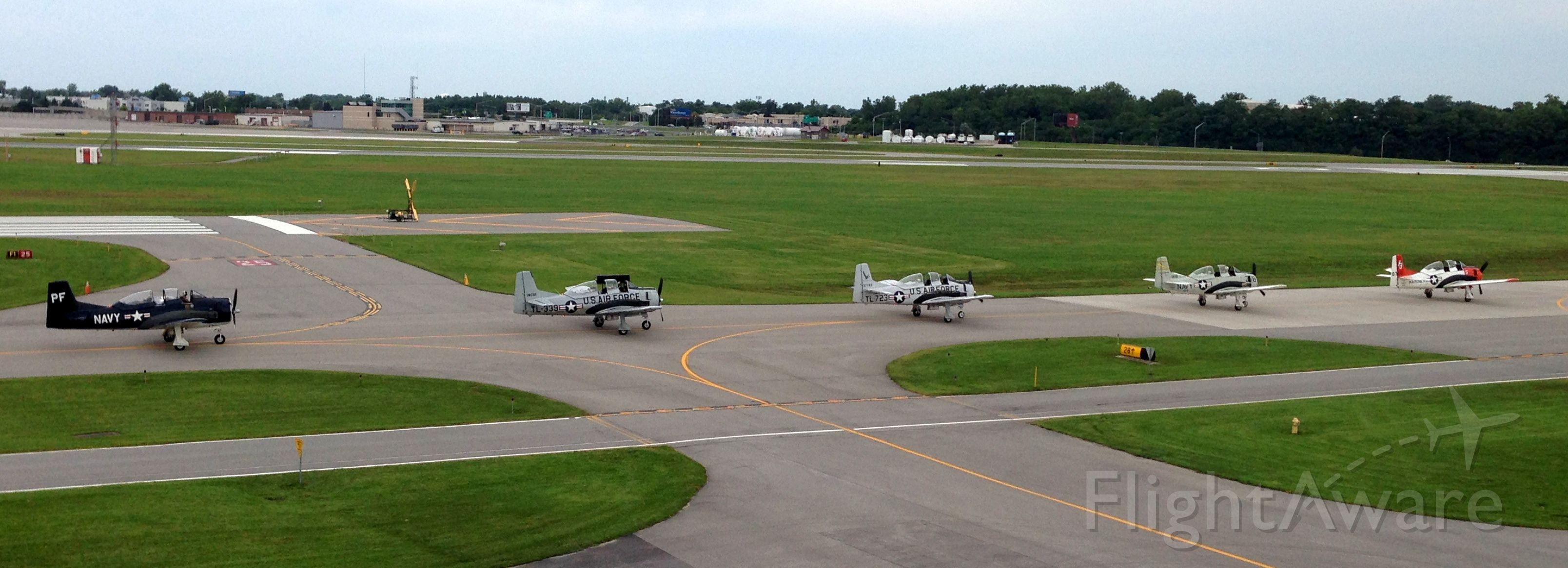 — — - Old school lineup at 2014 Rochester Air Show