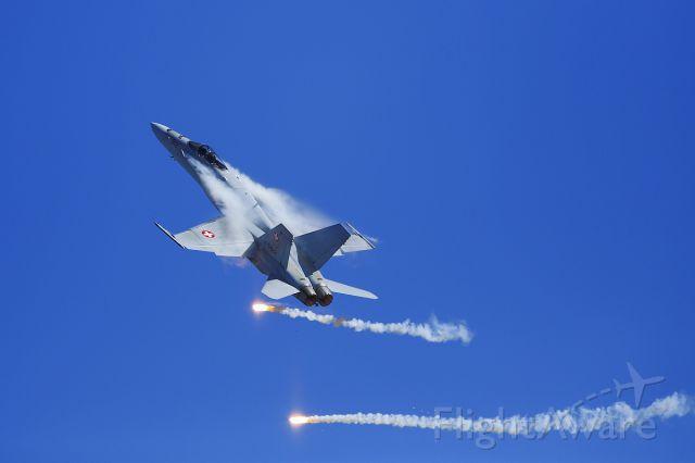 McDonnell Douglas FA-18 Hornet (J5012) - Swiss Airforce - F/A-18 Hornet Solo Display at Axalp shooting range