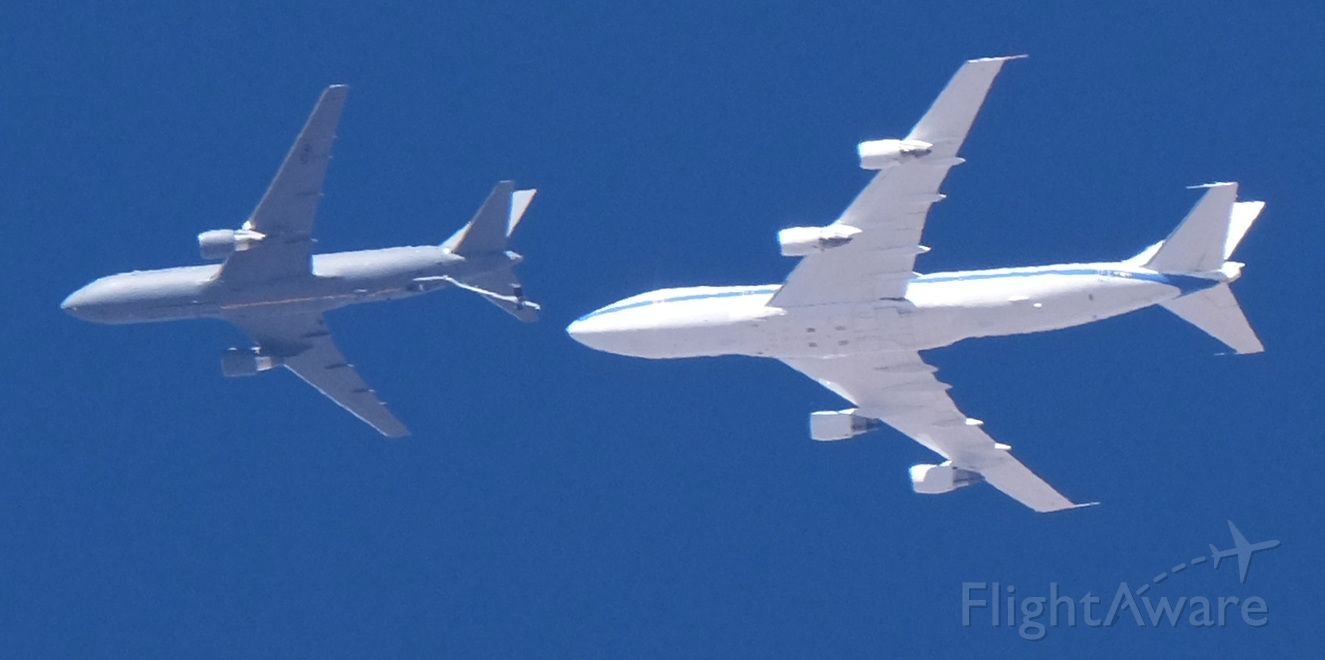 1846046 — - KC-46A 18-46046 at 25,000' MSL over Lone Pine, California on February 19, 2021.  I wasn't receiving ADS-B from the white 747-derived plane.