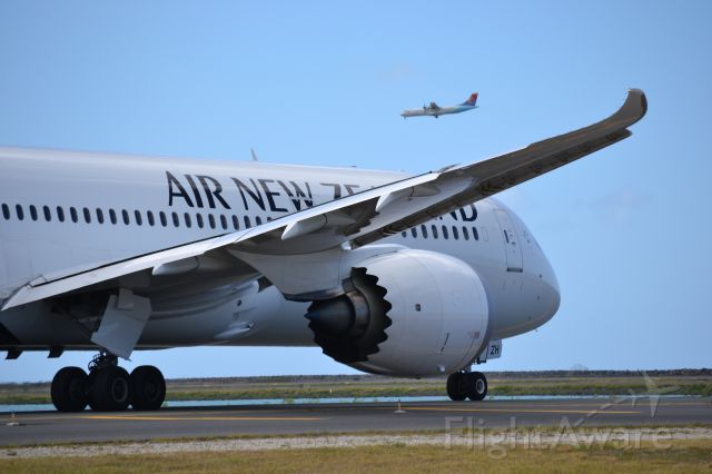 Boeing 787-9 Dreamliner (ZK-NZH) - Air New Zealand 787-900 heading out to the reef runway at PHNL with an Island Air ATR-72 on approach.