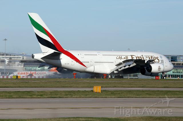 Airbus A380-800 (A6-EDW) - EK17 on the roll out after landing at MAN