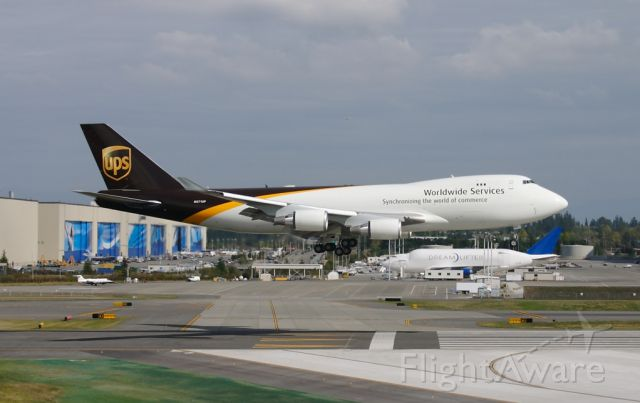 N571UP — - UPS N571UP returning to Paine Field after first flight September 21, 2007. This aircraft was destroyed in a crash near Dubai Airport on September 3, 2010 while carrying a cargo of lithium-ion batteries.