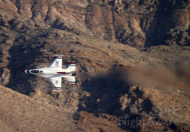 Lockheed F-16 Fighting Falcon — - Thunderbirds Viper in front of Sunrise mountain